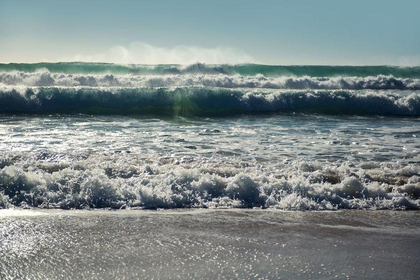 Ocean waves. Cadiz, Spain Atlantic Ocean Beach Blue Sky Breaking Waves Coast Cádiz, Spain Landscape Marine Nature No People Nobody Ocean Outdoors Sand Scenery Sea Sea Foam Seaside SPAIN Spindrift Splashing Water Sunny Day Sunshine Water Waves