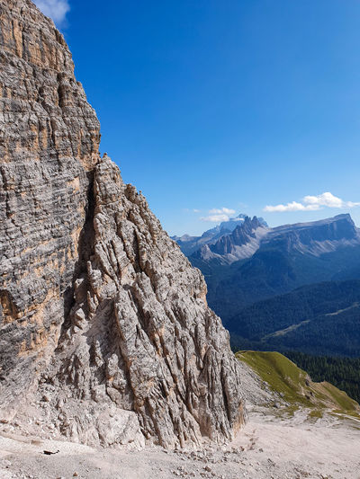 Juxtaposition of close and far dolomitic mountains