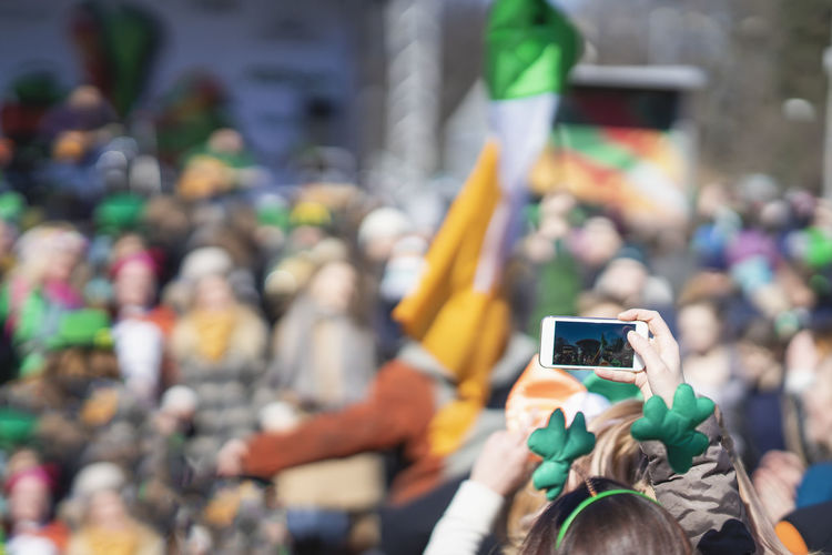 St patrick day parade in city
