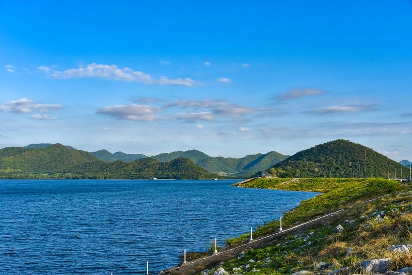 Dam EyeEm Selects Mountain Water Scenics Nature Beauty In Nature Sky Outdoors Sea Tranquil Scene Cloud - Sky No People Day Tranquility Blue Nautical Vessel