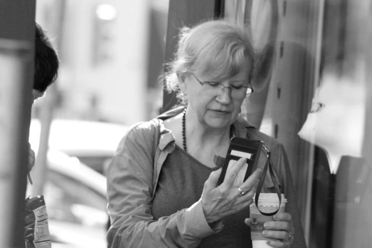 Blackandwhite Random People Coffee Reflection Time Daily Life Lady Wearing Glasses downtown San Mateo, CA