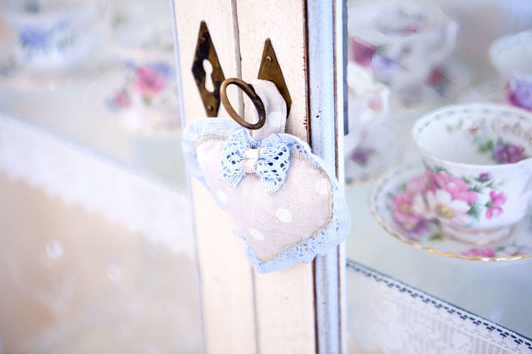 Close-Up Of Heart Shape On Closed Door