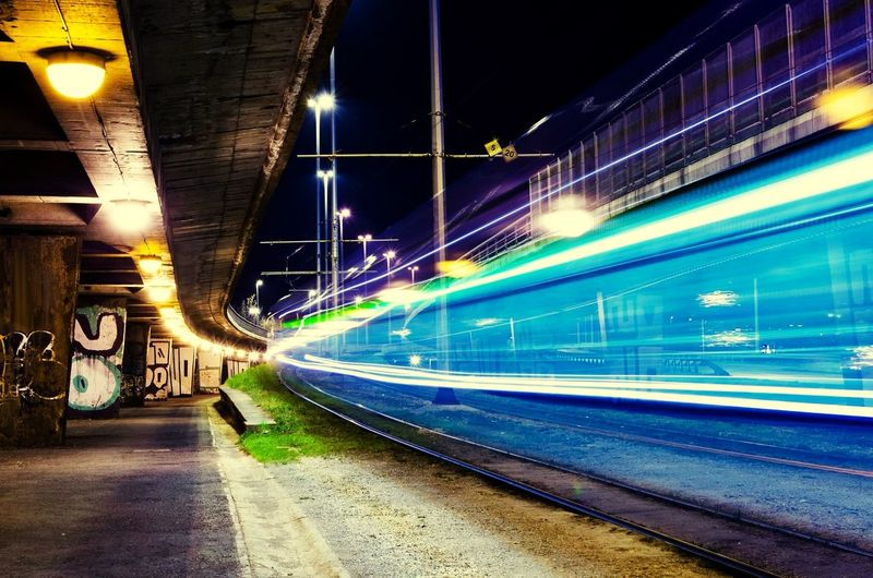 Tram Urban Light Trails Zagreb City Photography In Motion Here Belongs To Me