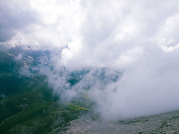 Cloudy conditions on top of mt. Platkofel Langkofel Group Langkofel Platkofel Cloud - Sky Nature Outdoors Landscape Scenics Mountain Fog Sky Cold Temperature Dolomites Canazei Campitello Di Fassa Clouds Seiseralm Light
