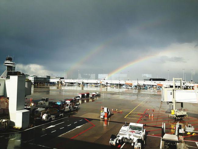 double rainbow Airport Traveling Planes Vehicles Water Multi Colored Rainbow Sky Cloud - Sky Architecture Rainy Season Rainfall Wet Drop Droplet Dripping RainDrop Rain Umbrella Weather Overcast My Best Travel Photo