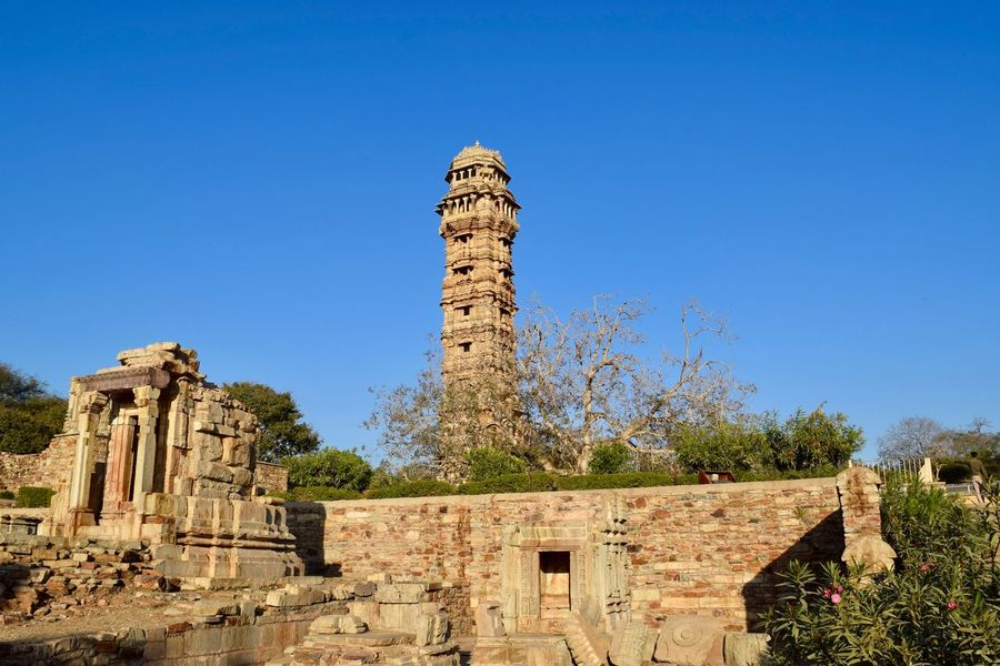 Wide angle view of Tower of Victory Architecture Chittorgarh Fort Day History No People Old Ruin Outdoors