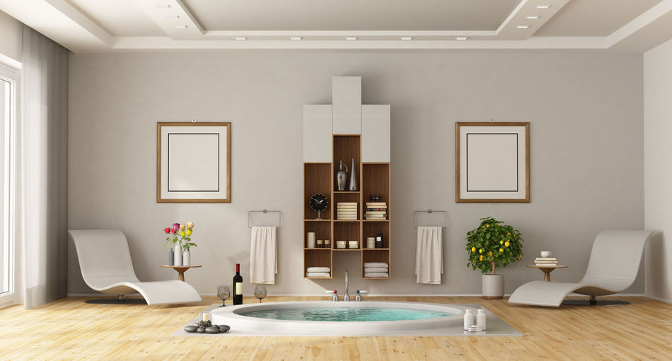 Home Interior Domestic Room Indoors  Home Furniture Architecture Luxury Wood - Material Design Flooring Bathroom Bath Time Bathtub Chaise Lounge