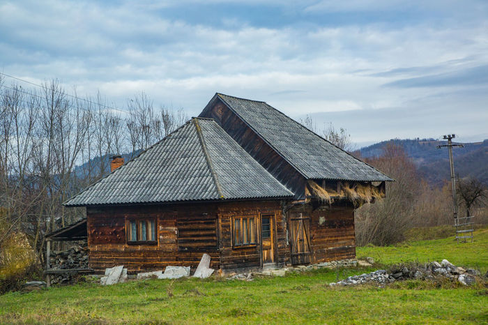 Agriculture Maramures Nature Romania Roof Mountain Old Hause Wooden Hause