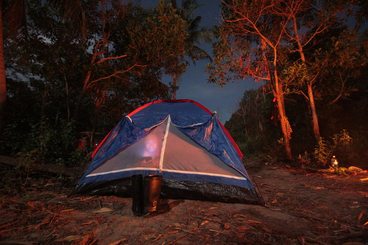 Outdoor activities camping with firewor, stars and moon light