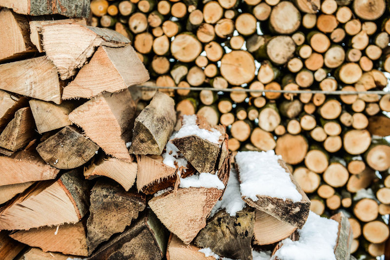 Full Frame Shot Of Logs During Winter