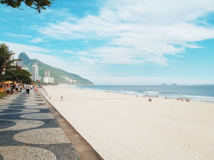 Mosaic footpath along the beach in brazil