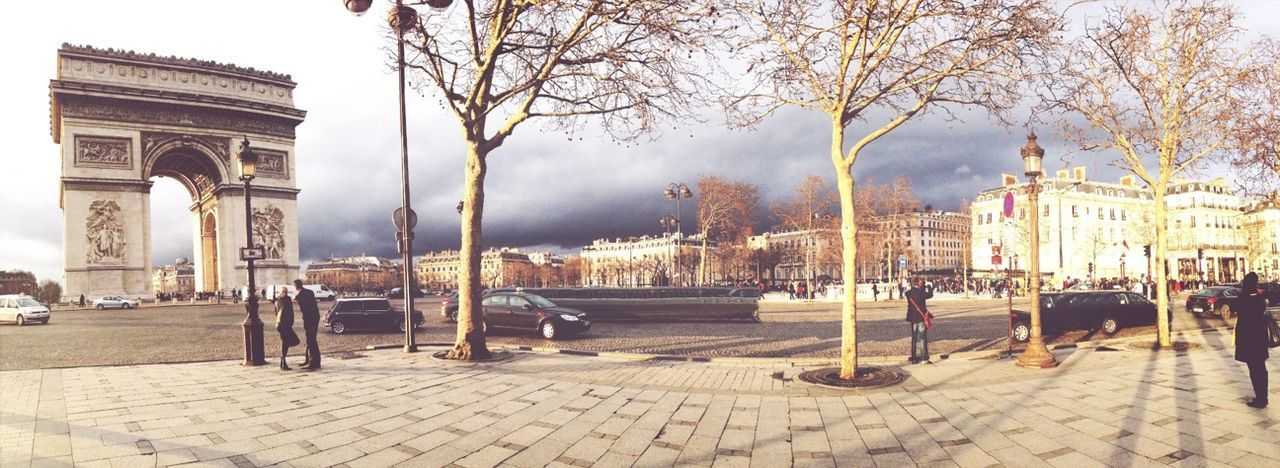 Panoramic view of town square against sky
