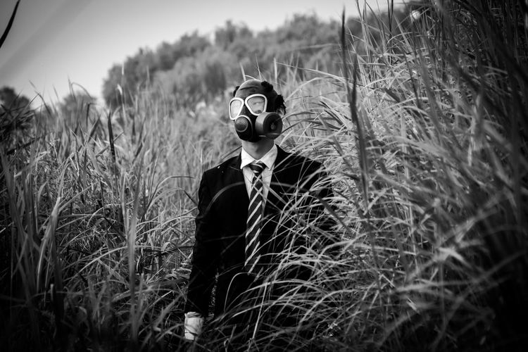 Adult Adults Only Air Pollution Art ArtWork Body Paint China City CreativePhotographer Creativity Day Embrace Urban Life Fantasy Gas Mask Grass Mask - Disguise Outdoors People Scarecrow Society Spooky Suit THREATS Urban Week On Eyeem