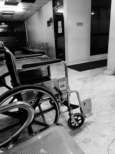 #EyeEmNewHere #p9photography #blackandwhite #Chair #hospital Wheelchair Differing Abilities Wheelchair Access Healthcare And Medicine Built Structure