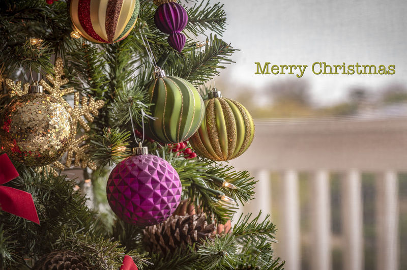 Christmas background with light bulbs and Christmas decorations on the pine tree Celebration Holiday Decoration Christmas Decoration Christmas Christmas Ornament Tree Holiday - Event No People christmas tree Sphere Event Close-up Hanging Text Religion Plant Green Color Christmas Backgrounds Bulbs Tree