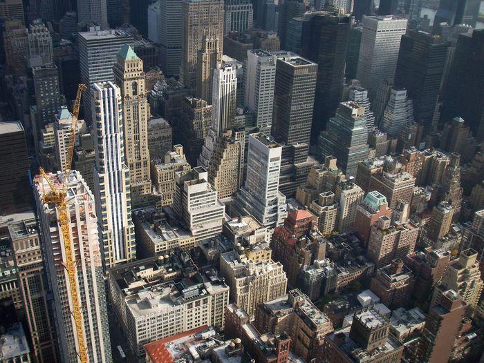 Aerial view of modern buildings in city