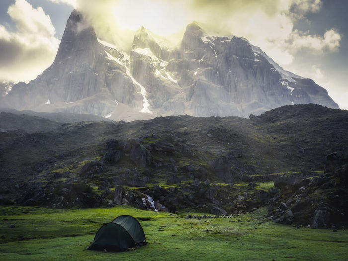 Huayhuash Trekking Cordillera Blanca Andes Mountain Landscape Beauty In Nature Scenics - Nature Environment Cloud - Sky Nature Non-urban Scene Sky Tent Adventure Mountain Range Tranquil Scene Day Tranquility Land Outdoors Camping Idyllic Mountain Peak Snowcapped Mountain