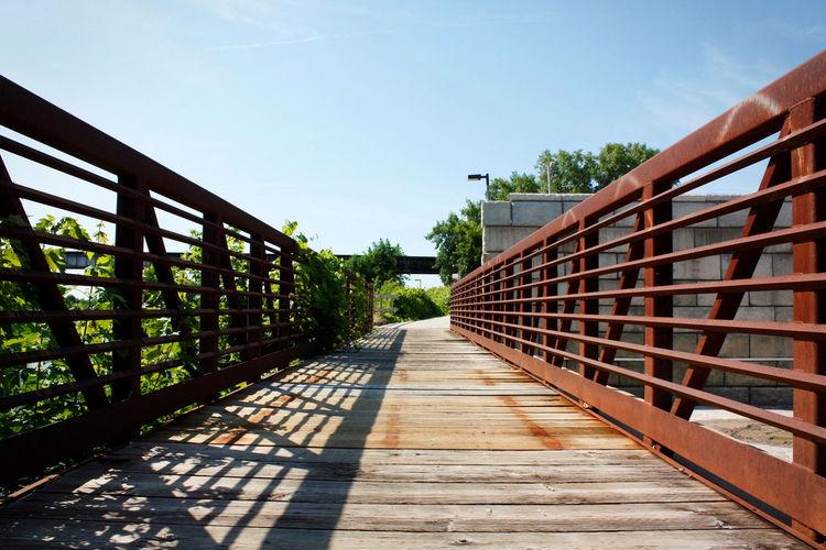 Footbridge Amidst Trees Against Clear Sky