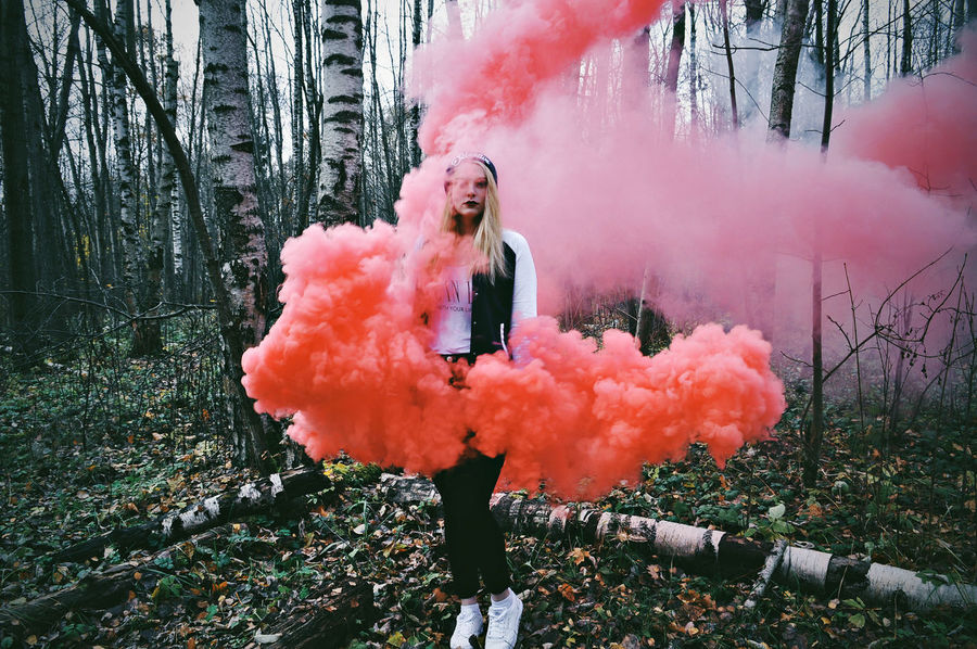 Adult Colorful Colors Day Full Length Horizontal Leisure Activity Lifestyles Nature Nature Photography One Person One Woman Only Only Women Outdoors Person Plant Real People Russia Russian Girl Smoke Smoke - Physical Structure TheWeekOnEyeEM Tree Warm Clothing Young Adult