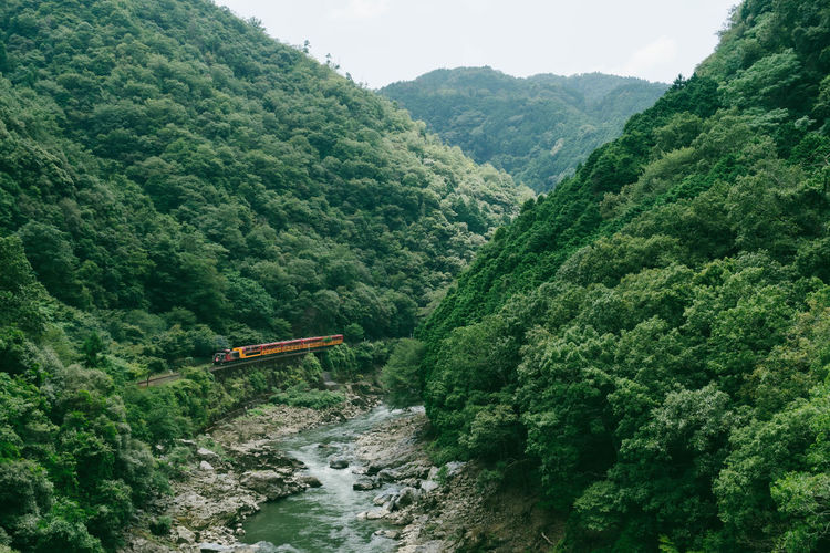 Romantic train along hozukyo river, arashiyama, kyoto prefecture, japan