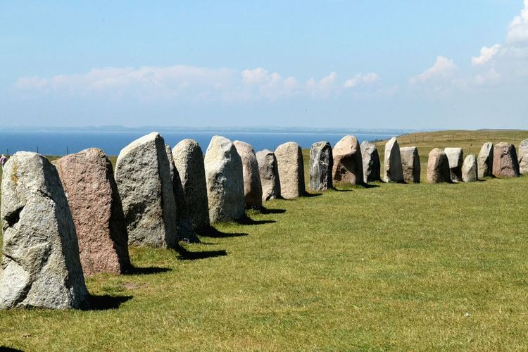 Sea Travel Destinations Horizon Over Water Nature Grass Outdoors Day Beach No People Sky Monument Stones Stone Circle Megalithic Ales Stenar Skåne
