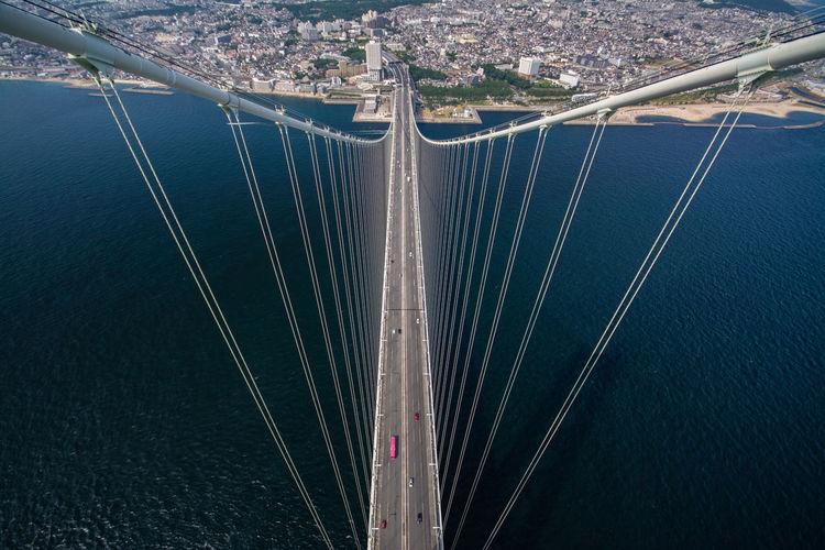 Aerial view of suspension bridge