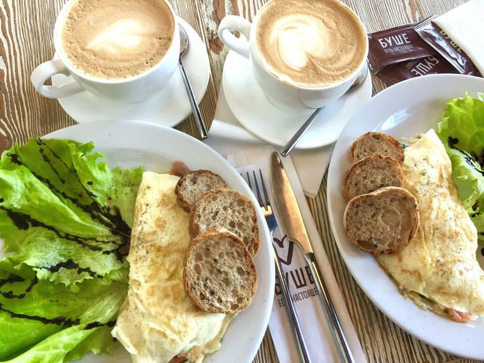 Завтрак в Буше Too Omlet Omlet Omlette Love Breakfast To Love Breakfast Table Freshness Ready-to-eat Food Drink No People Cappuccino