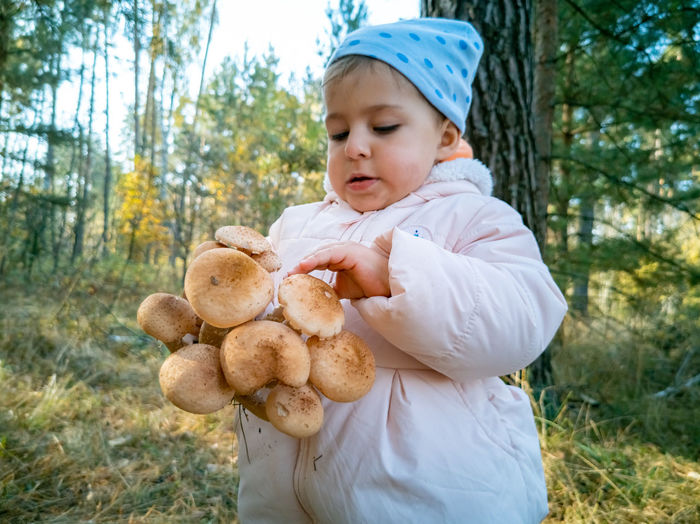 Portrait of cute baby boy holding toy on land