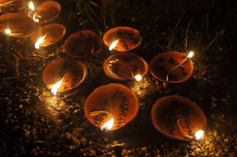 Night Illuminated Celebration Glowing Burning Lighting Equipment Flame Heat - Temperature No People Outdoors Tradition Lantern Diya - Oil Lamp Close-up