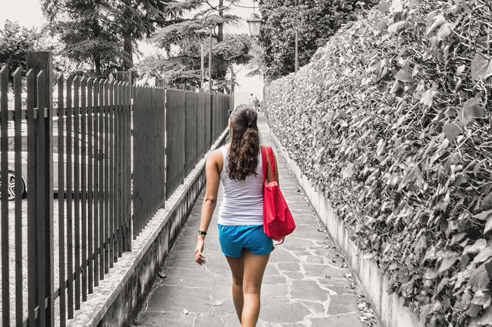 Alee Back Blackandwhite Blue Brown Eyes Brown Hair Casual Clothing Colorblocking Colors, Colors, Everywhere... Contrast Edited Fence Gardasee Girl Holiday Italy Italy❤️ Lifestyles Lightroom Rear View Red Street The Way Forward Tree Tree First Eyeem Photo