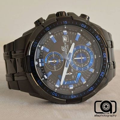 My new watch! Casio Edifice Black Blue Time Longexposure Photography Nikond3300 Instawatch Igers Instapic ATSphotography