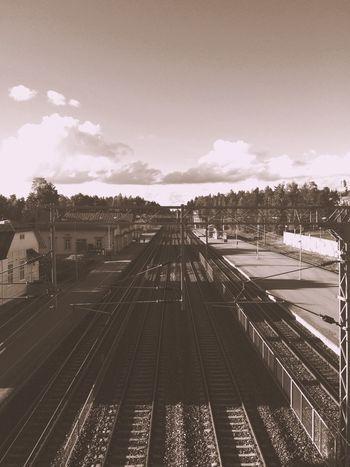 Train Train Station Train Yard Train Tracks Blackandwhite Sky