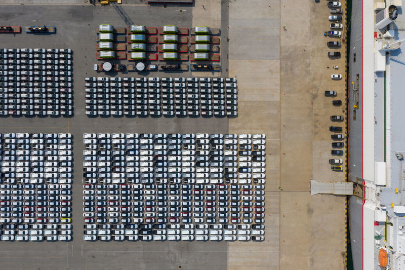 High angle view of stack of car parking lot