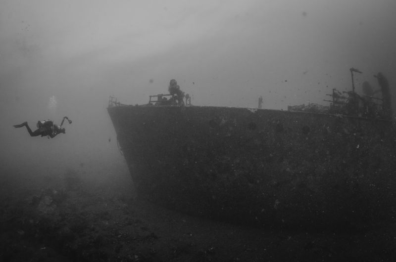 Diver and wreck Abandoned Black And White Diver Nautical Vessel Scuba Diving Scuba Diving UnderSea Underwater Underwater Photography Wreck