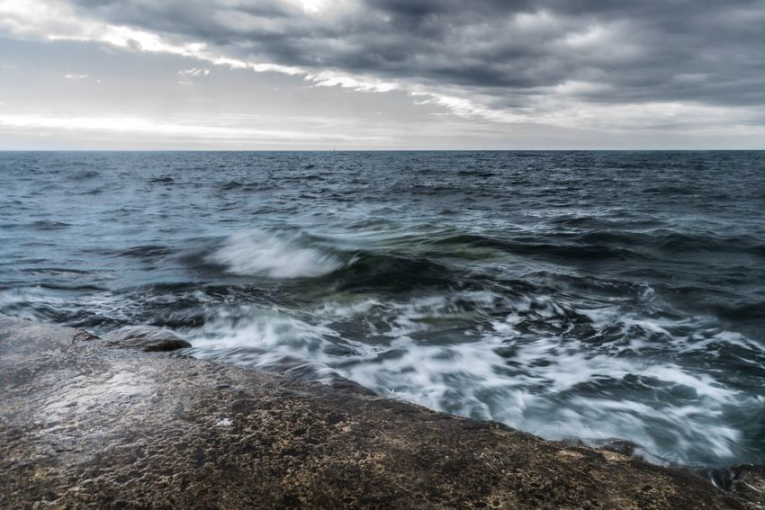Evening Waves Blur Motion Waves Ocean Ocen  Sea Devon Beer Sea Horizon Over Water Water Nature Beauty In Nature Sky Scenics Tranquility Outdoors No People Cloud - Sky Tranquil Scene Motion Day Wave