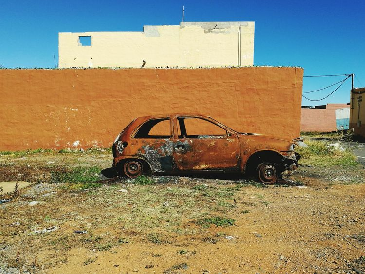 EyeEm Selects Outdoors Day No People Sky Wall - Building Feature Burned Car Brown Color Abandoned