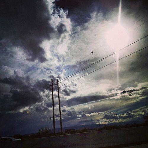 Instagramaz Phoenixaz Desertlivin Horizon Blueskies Clouds Driving 202 Sunset @arizonaskies Sunsetsgram Colorful Cloudydays Cloudporn Insaneweatherinphx Lensflare Sunglare Lightpole Powerline Awesomeclouds Pretty Sunaftertherain