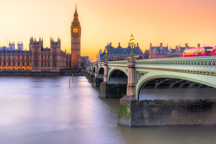 Big ben by westminster bridge during sunset