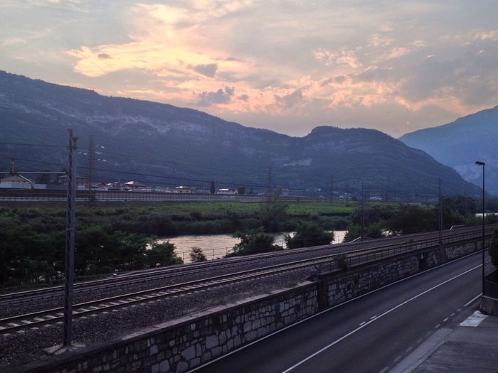 170/365 One Year Project 2017 June 19 Adige River Railway Mountain Transportation Scenics Sky Road No People Nature Beauty In Nature Outdoors Tranquil Scene Mountain Range Tranquility Landscape Day Electricity Pylon Railroad Track Italy