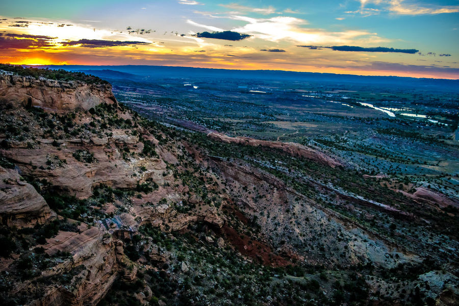 Colorado National Monument Colorado Colorado National Monument Denver Grand Junction Aerial View Beauty In Nature City Cityscape Cloud - Sky Day Horizon Horizon Over Water Landscape Mountain Nature No People Outdoors Scenics Sea Sky Sunset Tranquil Scene Tranquility Travel Destinations Water