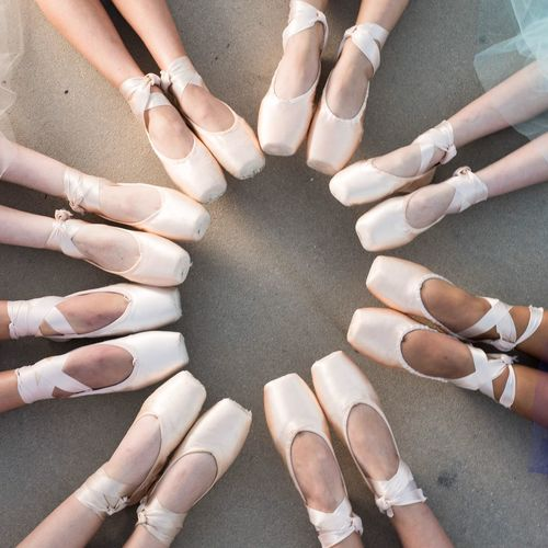 On pointe Pointe Shoes Ballet Teamwork Circle Togetherness High Angle View Friendship Connection Variation Unity Group Of People