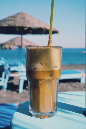 Close up of frappe on beach
