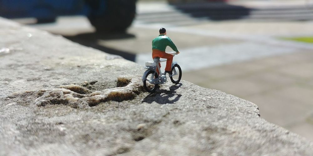 Rear view of man riding bicycle