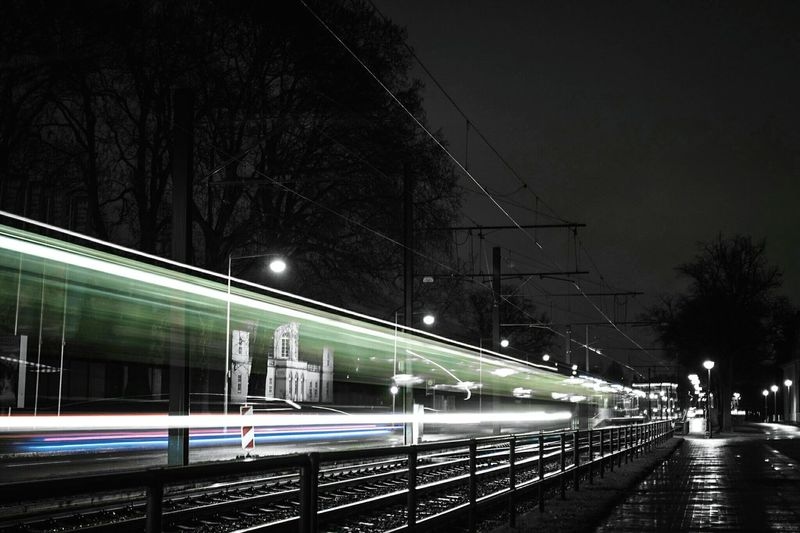 ~🚊✴~ Night Illuminated Motion Speed Transportation Long Exposure Light Trail Architecture Tree Outdoors Sky No People Low Angle View Night Photography Canon Blurred Motion Street Light Road Light And Shadow Getting Inspired Velocity Streetphotography Colorsplash Traffic Lines And Shapes Mobility In Mega Cities