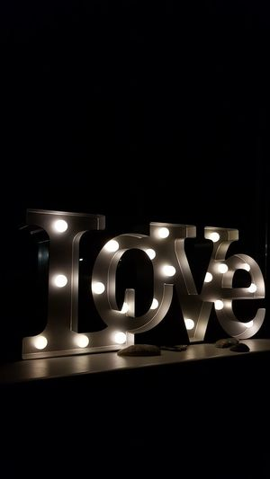 AndIloveyouforever Lamp Black Background Illuminated Decoration