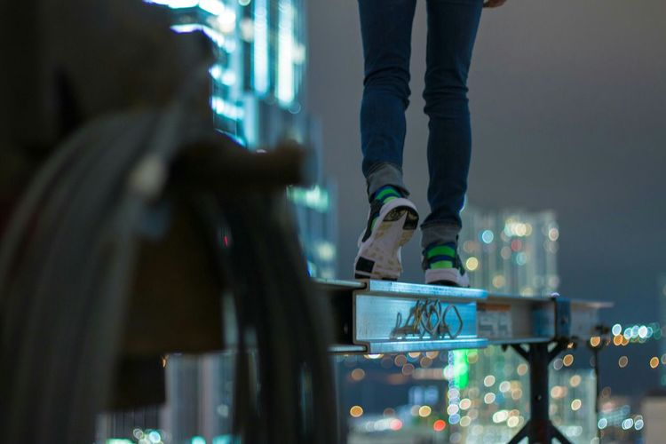 Depth Of Field Skyline Rooftop Scenery Cold Weather Cold Tone Blue Night Night Life Cityscapes