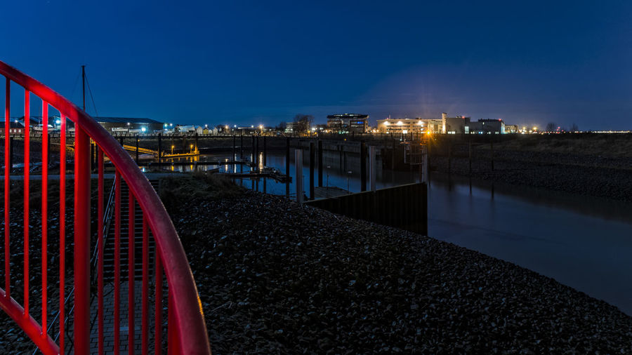 little harbour Artificial Light Blue Sky Bridge - Man Made Structure Business Finance And Industry City Cityscape Elbe River Finkenwerder Foreground Illuminated Landscape Night No People Outdoors Railing Red Sky Sport Harbour Stairs Stones And Water Wintertime