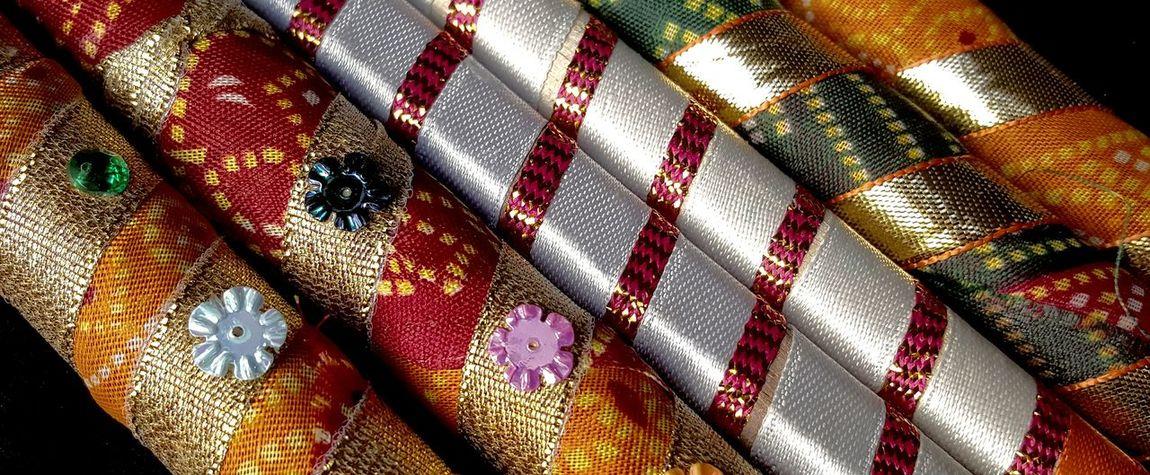 Dandiya Sticks Fabric Hindu Festival Celebration Holiday Accessory Details Closeup How You Celebrate Holidays