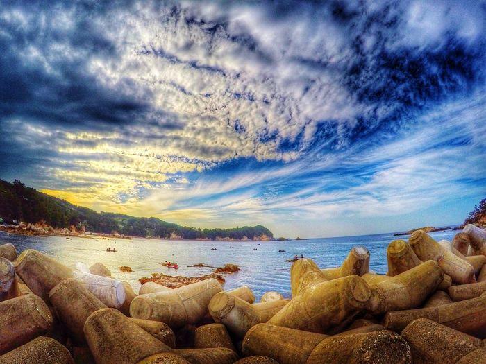 Gangwon-do Korea Sunset Gallam Port Beach Sky 실수로 인한 삭제, 업로드 오류.. 이 어플 다루기 어렵...