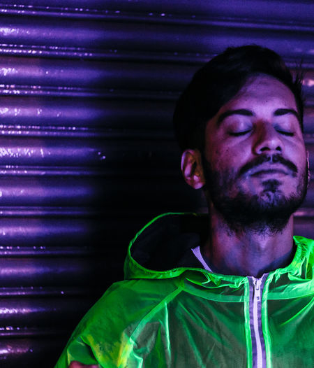 Nightphotography Contemplation Eyes Closed  Facial Hair Front View Green Color Night One Person Portrait Real People Young Men